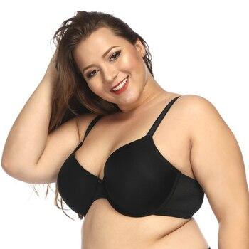 Women Plus Size Bra Seamless Underwire Thin Cup C D E F G H I J Simple Daily Brassiere for Big Chest Black Beige Super Large