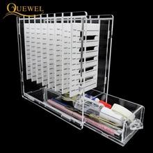 رمش الغراء الزجاج حامل مع صندوق 8 قطع الرموش حامل تمديد المنصات الفردية جلدة ل ماكياج أداة Quewel