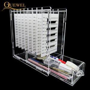 Image 1 - Eyelash Glue Glass Holder with Box 8 pieces Eyelashes Stand Extension Pallets  Individual Lashes For Makeup Tool Quewel