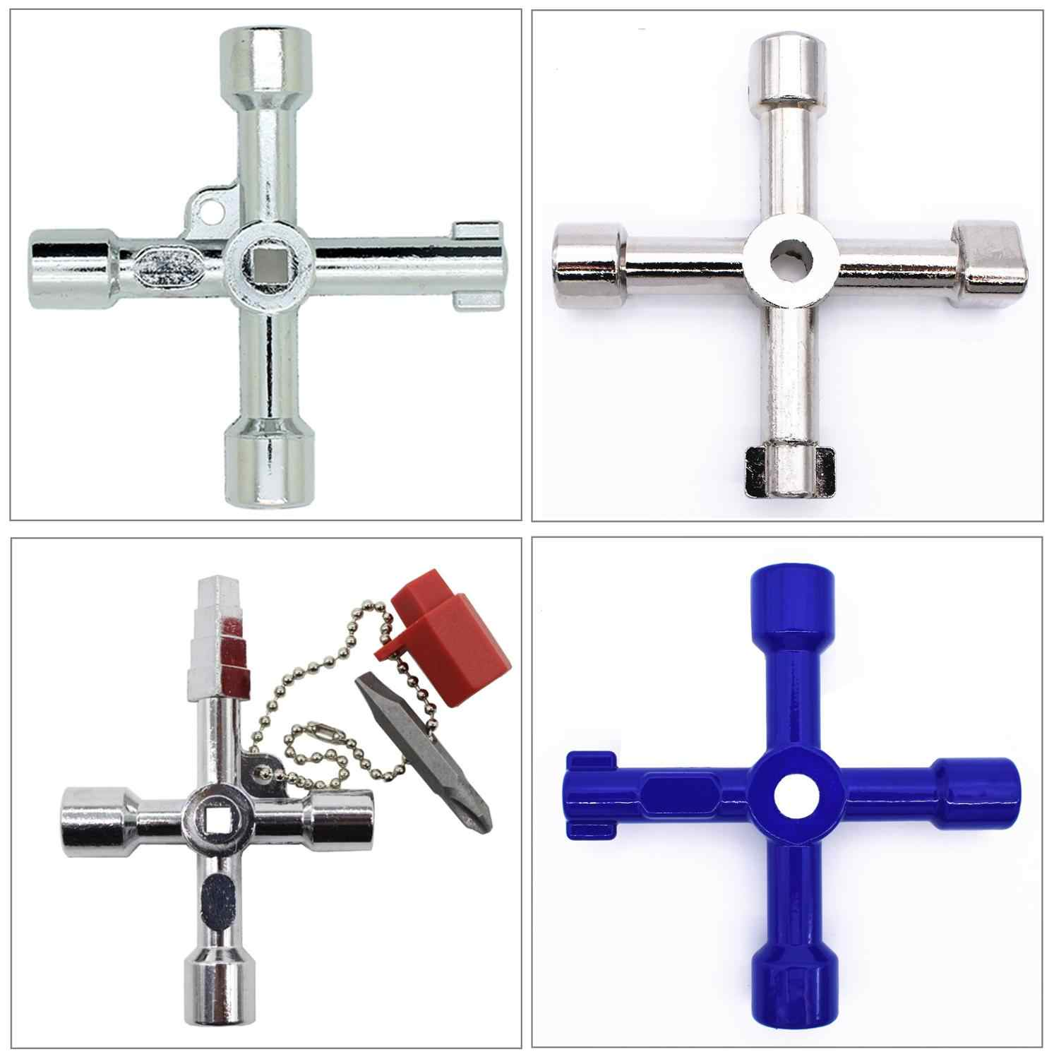 Multi-Functional Universal Plumbers Electricians Tools for Elevator 4 Way Cross-Key with Bit Electrical Cupboard Box