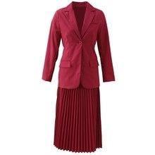 GoodliShowsi/деловая одежда, женские юбочные костюмы, розовый, красный, на одной пуговице, костюм, пальто, топы+ Плиссированная Юбка-миди, подходящие комплекты OL