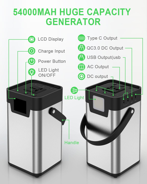 Banco de energía 54000mAh batería externa AC/DC/USB/tipo-c generador portátil de salida múltiple para ventilador de TV, refrigerador de coche, portátil, etc. - 2