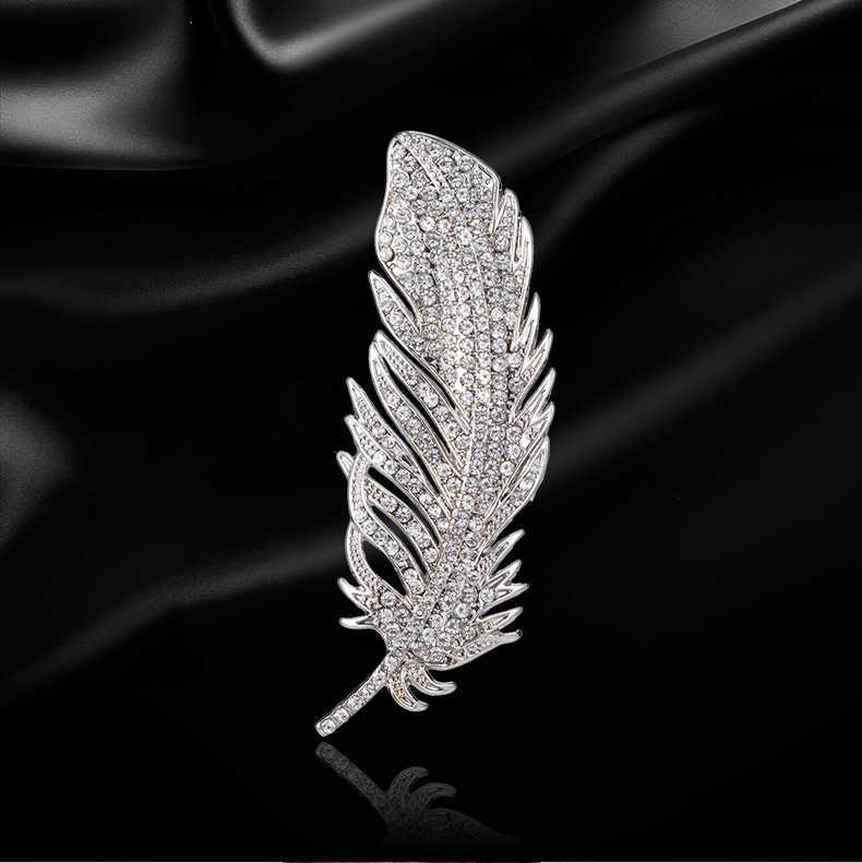 Trendi Merak Bulu Mutiara Kristal Korea Suit Kerah Pin dan Bros untuk Wanita Pria Lapel Pin Bros Bros Perhiasan