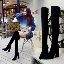цены Women Autumn Winter Flock Over-the-Knee Sock Boots Ladies Pointed Toe Long Thigh Thick High Heel Boots botas mujer Club Booties