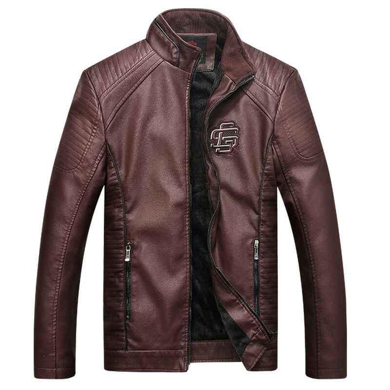 Мужская куртка из искусственной кожи, Классическая мотоциклетная ковбойская куртка, Азиатские размеры, зимнее теплое пальто, толстые пальто 5XL, высокое качество 16