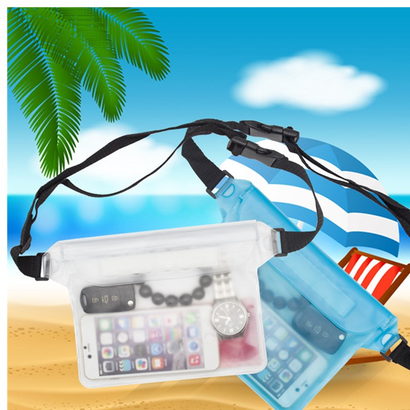 Waterproof Vinyl Phone Dry Bag Swimming Drifting Diving Waist Bag Adjustable Waist Belt For Water Sports Beach Swimming Fishing