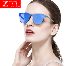 ZT Rimless Cat Eye Sunglasses Women Brand Designer Classic Flat Lens Metal Frame Mirror Coating Shades Men Uv400