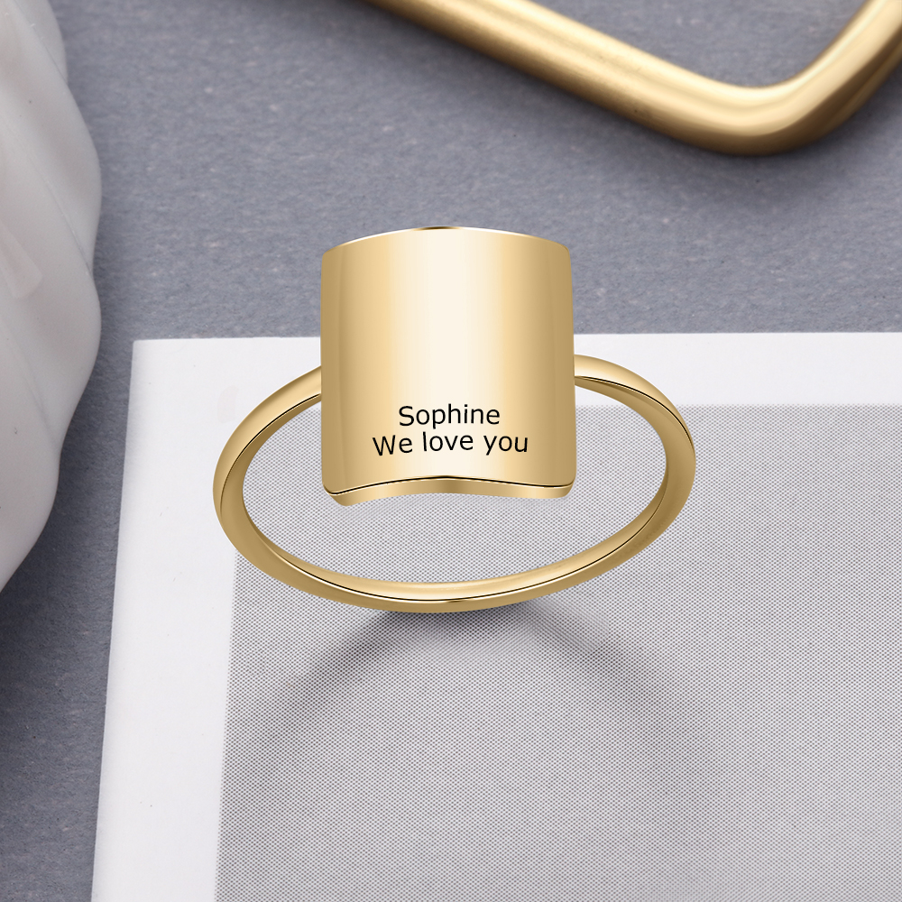 Personalized Custom Engraved Name Signet Ring Stainless Steel Square Bar Rings For Men Women Engagement Bands Jewelry