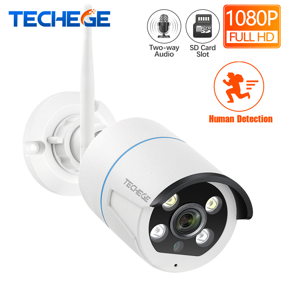 Techege HD 1080P WIFI IP Camera Two Way Audio Outdoor Waterproof 2.0MP Wifi Camera Nignt Vision Human Detection Wireless Camera