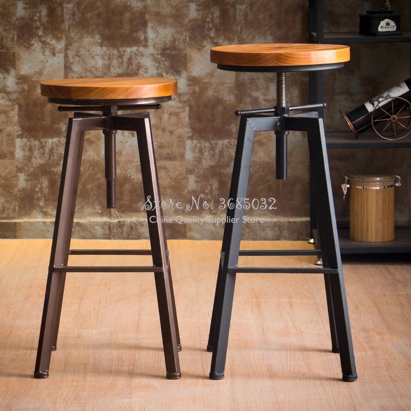 Vintage Iron Bar Chair Industrial Wind Rotating Bar Stool Home Lifting Bar Chairs Solid Wood High Stools Home Dinning Chairs