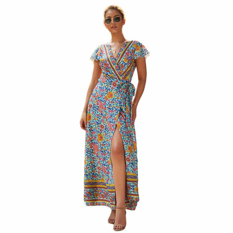 Neue Sommer Floral Print Böhmen Kleid Frauen Maxi Lange Kleid Sexy V-ausschnitt Abend Party Strand Kleid Sommerkleid Vestidos