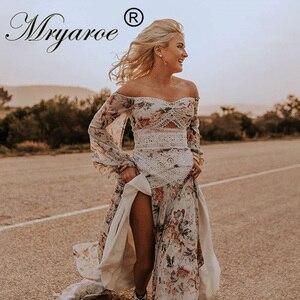 Image 1 - Mryarce Morden Bride Floral Flowy Chiffon Boho Chic Wedding Dress Off The Shoulder Open Legs  Bridal Gowns