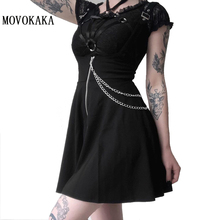 MOVOKAKA New Punk Vintage Skirt Womens Skirt Fashion Gothic Sexy Pleated Skirt Black Skirts Plus Size Strap Pleated Skirts Women large size vintage wool cotton black and red plaid skirt women s winter autumn fashion gothic gothc short skirt a line pleated