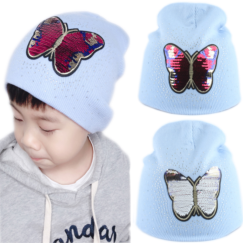 Girls Baby   Beanie   Winter Hat For Kids Cartoon Butterfly Sequin Winter Cap Children Warm Knitted Rhinestone   Skullies     Beanies