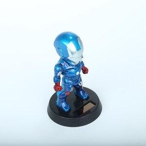 Image 5 - 2017 Q Version Action Figure Superhero Eisen Mann Schwarz Panther PVC Figur Solar Energie Schütteln kopf Spielzeug 12cm Chritmas geschenk Spielzeug