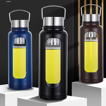 Water Portable Outdoor Wall Bottle Travel Tea Mug Tumbler For Dink Tea With Infuser Double Glass Coffee Water Bottles Anti-fall glass bottle with tea infuser double wall glass portable travel outdoor tea tumbler bottles home office drinkware for car 350ml