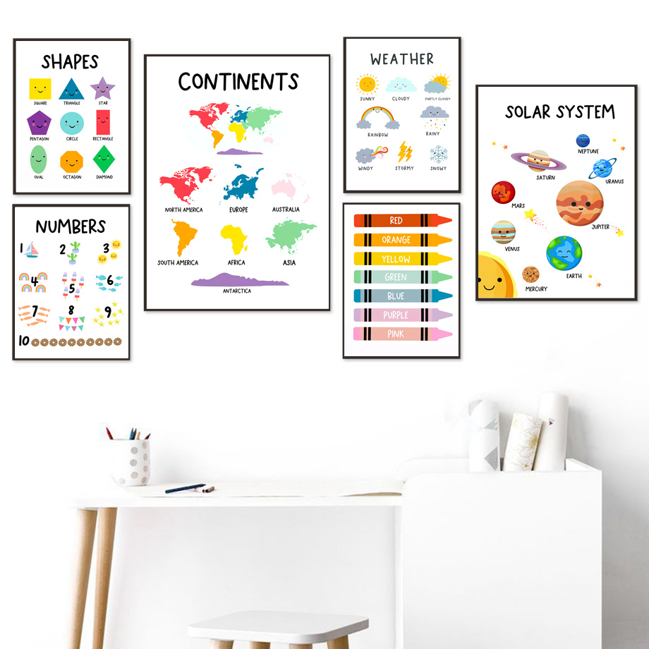 Learn Educational Colors Numbers Planet Map Weather Wall Art Print Canvas Painting Nordic Poster Wall Pictures Kids Room Decor