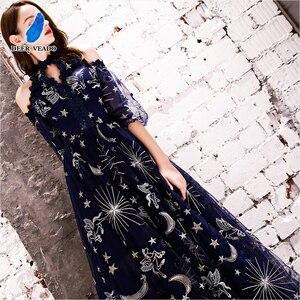 Image 5 - DEERVEADO Vintage Pattern A Line Tulle Evening Dresses Long Formal Dress Evening Gown Robe de Soiree YS439