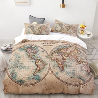 WarmsLiving World Map Bedding Set Geography Duvet Cover Set Vintage Hemisphere Map Home Textiles Brown Blue Bedclothes 3pcs