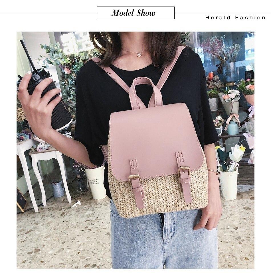 Ha5baa53efbce4f6cb9db92f1468c6fceC Herald Fashion Straw Woven Backpack Women Back Pack Autumn Teenage Girl Quality Backpacks Travel Bags Kawaii Rucksack Drop Ship