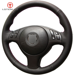 Image 4 - LQTENLEO Black Artificial Leather DIY Car Steering Wheel Cover for BMW M Sport E46 330i 330Ci E39 540i 525i 530i M3 M5 2000 2006