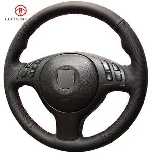 Image 4 - LQTENLEO czarna sztuczna skóra DIY osłona na kierownicę do samochodu dla BMW M Sport E46 330i 330Ci E39 540i 525i 530i M3 M5 2000 2006