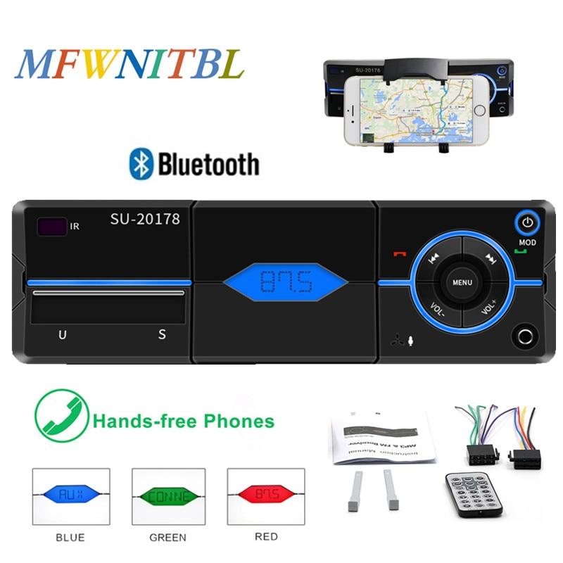 1 Din Car Radio Autoradio Bluetooth Car MP3 Player Car Radio Stereo FM Remote Control Handsfree Calls USB SD AUX IN Phone Charge