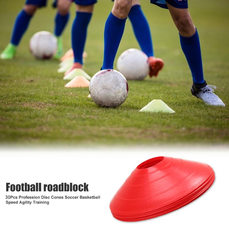 30pcs Bowl Shaped Football Training Obstacles Plates Football Mark Disc PE Soccer Tennis Sign Plate Soccer Training Accessories
