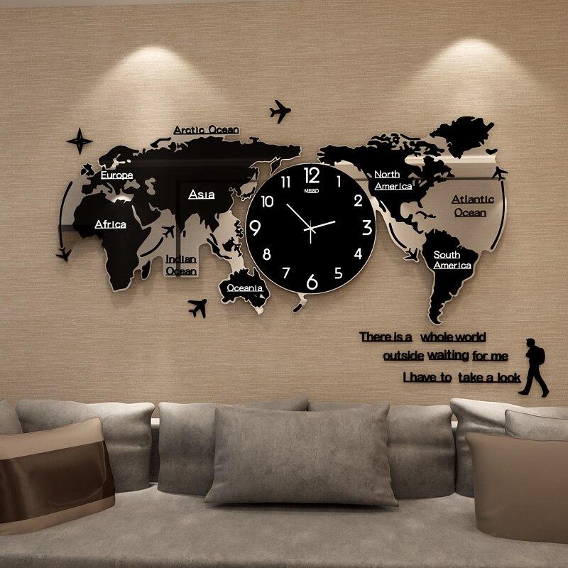 Grande carte du monde horloge murale Design moderne autocollants 3D horloge acrylique brillant dans l'obscurité grande montre horloges murales décor à la maison 120x55 cm