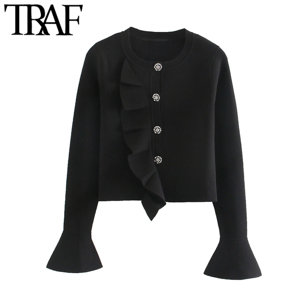 TRAF Women Vintage Stylish Jewel Buttons Ruffles Cropped Knitted Sweater Fashion O Neck Long Sleeve Female Outerwear Chic Tops