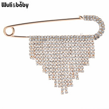 Wuli&baby Shining Tassel Pins For Women Unisex Office Casual Suits Brooches Gifts
