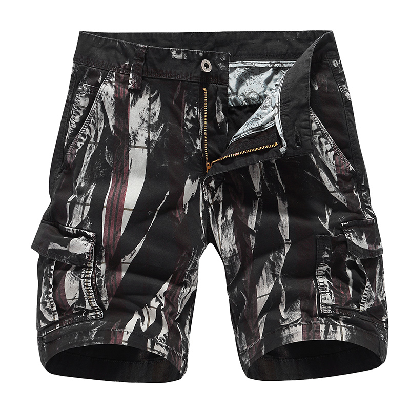 Cotton Cargo Shorts Men 2020 Summer New Fashion Printed Pattern Pants Casual Loose Fit Mutil Pockets Outdoor Overalls