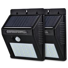 Светодиодный светильник на солнечной энергии с датчиком движения PIR, настенный светильник, 20 светодиодный, для улицы, водонепроницаемый, энергосберегающий, уличный, для двора, для дома, сада, для безопасности, лампа