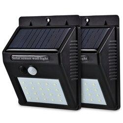 Светодиодный светильник на солнечной энергии с датчиком движения PIR, настенный светильник, 20 светодиодный, для улицы, водонепроницаемый, эн...