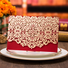 50pcs Red Floral Laser Cut Wedding Invitations with Envelope for Bridal Shower Baby Birthday Graduation Supplies