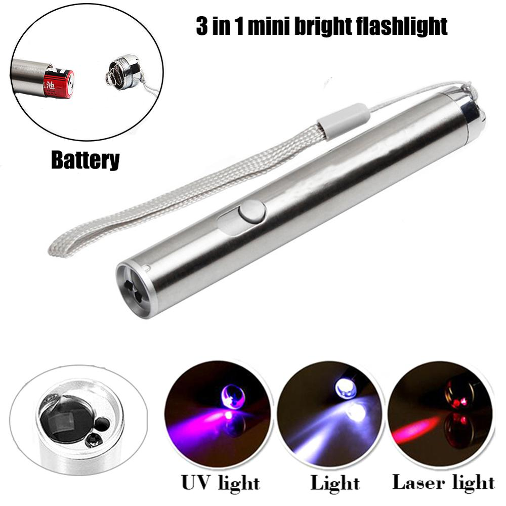 Mini UV LED Flashlight Pen Light Ultra Violets Ultraviolet Infrared Moon Light Cash Check Pet Stains Hunting Daily Use