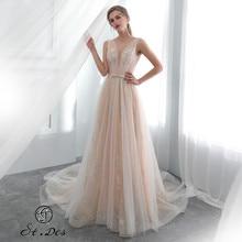 S.T.DES Evening Dress 2020 New Arrival A-line V-neck Champagne Sleeveless Designer Floor Length Party Dress Dinner Dress