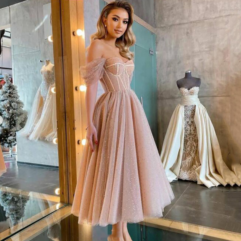 Smileven Modern Pink Dotted Tulle Short Prom Dresses Off The Shoulder Evening Gowns Sweetheart Corset Prom Party Gowns