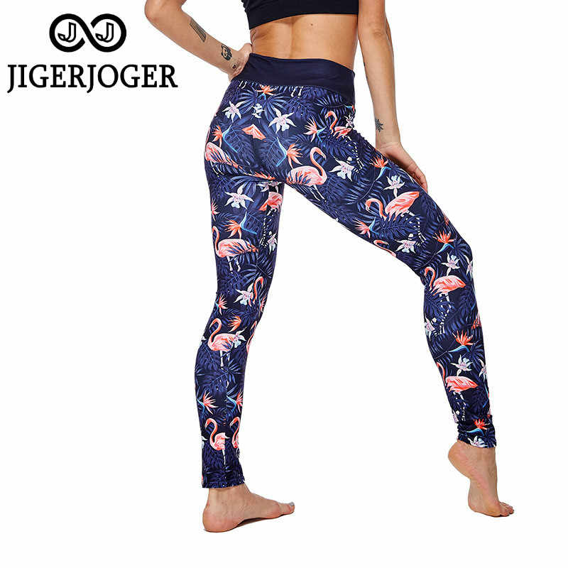 JIGERJOGER 2020 NEUE Leggings günstige leggings tropical flamingo Yoga hosen hohe taille blaue gym leggings flex leggings athletisch