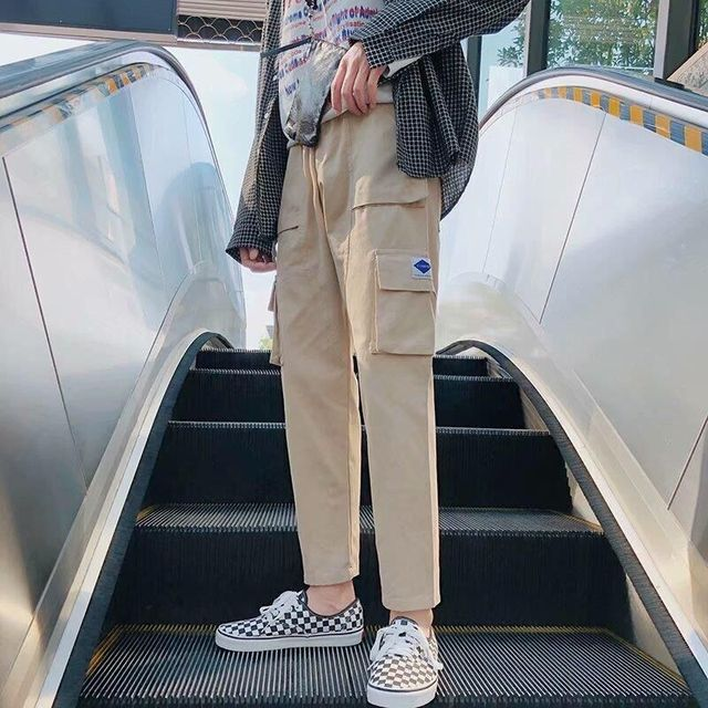 harajuku zipper streetwear women casual harem pants with chain New solid black pant cool fashion hip hop long trousers 5
