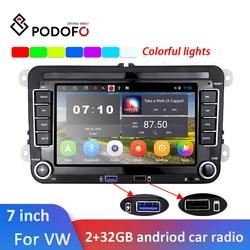 Автомобильная Мультимедийная система Podofo, 2DIN, Android, 2 + 32 ГБ, для Volkswagen, Skoda, Octavia, golf 5, 6, touran, passat B6, polo, tiguan, jetta, yeti