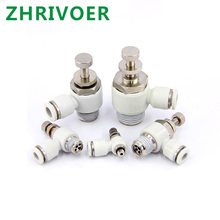 Male Thread Push to connect Fitting Elbow Pneumatic Speed Flow Controller Fittings White 4-12mm Tube - M5 1/8 1/4 3/8 1/2 brand new japan genuine speed controller as1311f m5 04