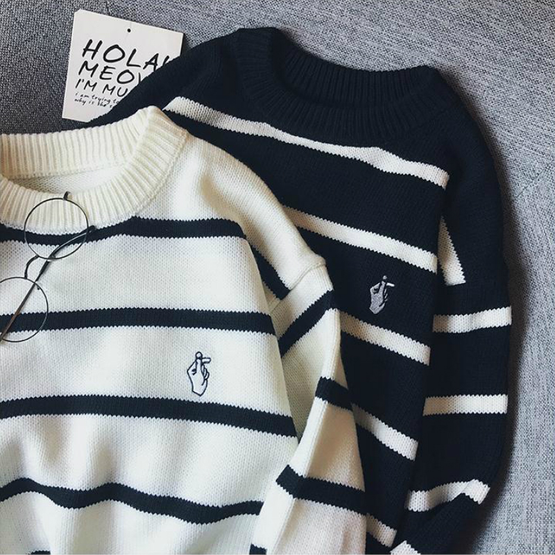 Pullovers Men Autumn Striped O neck Simple All match Korean Style Harajuku Ins Leisure Loose Sweaters