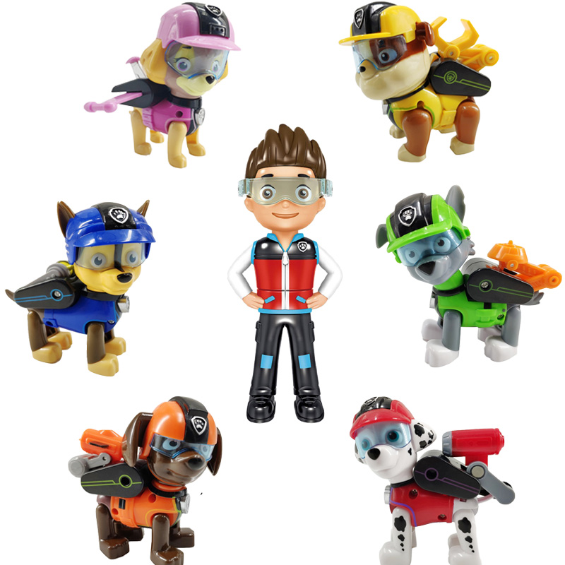 7Pcs Paw Patrol Dog Juguete Deformation Puppy Toy PVC Patrulla Canina Action Figure Model Kids Toys For Children Gifts