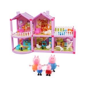 Image 3 - Peppa Pig George Speelgoed Set Roadster Station Wagon Huis Bus Poppen Set Action Figure Anime Speelgoed Voor Kinderen Cartoon Verjaardag gift