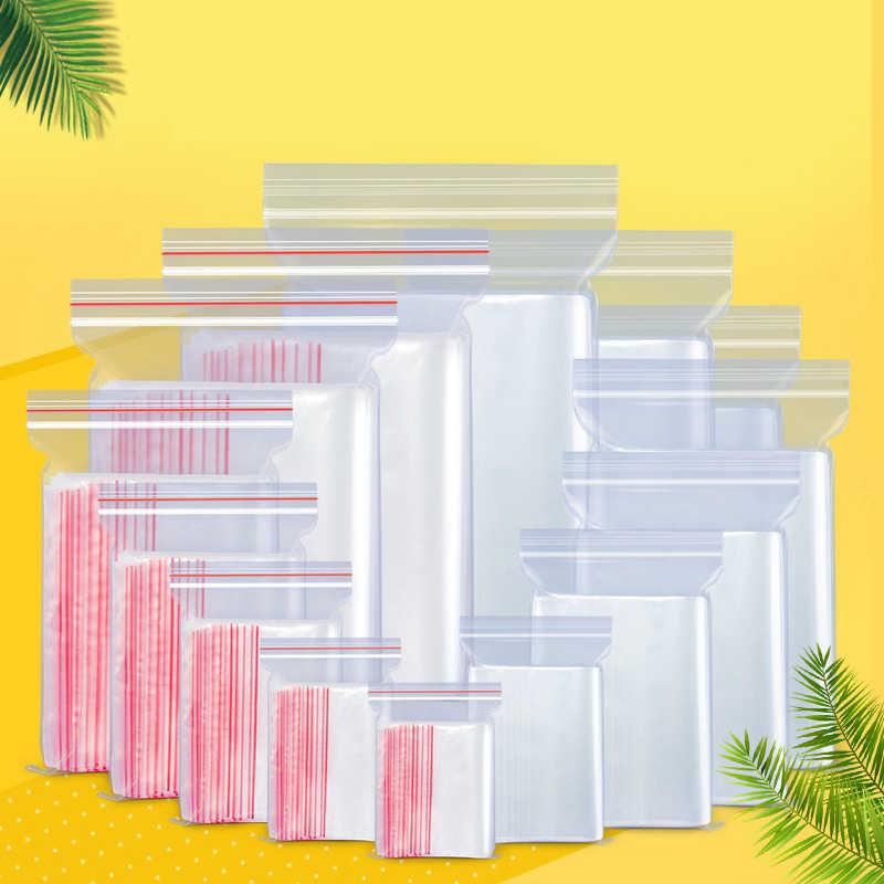 500 stks/pak Kleine Zip-Lock Plastic Zakken Vacuüm Opbergtas Hersluitbare Transparante Tas Schoen Zak Poly Clear Tassen Sieraden Ziplock