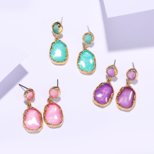 2019 Trendy Korean New Design Fashion Jewelry Transparent Acrylic Earrings For Women Gold Metal Geometric