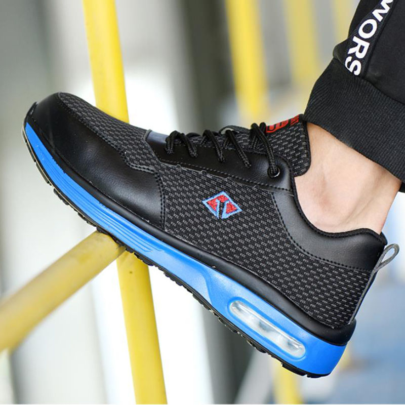 Men's Sneakers Air Cushion Safety Shoes Men's Lightweight Steel Toe Anti-Smashing Indestructible Work Shoes Mesh Sports Shoes N