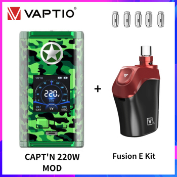 Vaptio Capt'n Mod 220W With Fusion E Vaping Kit Gift Dual 18650 Battery BOX Mod Electronic Cigarette Mod 510 Fusion Coils Head vaptio capt n mod 220w 510 box mod with gift fusion e vape kit dual 18650 battery box mod electronic cigarette fusion core head