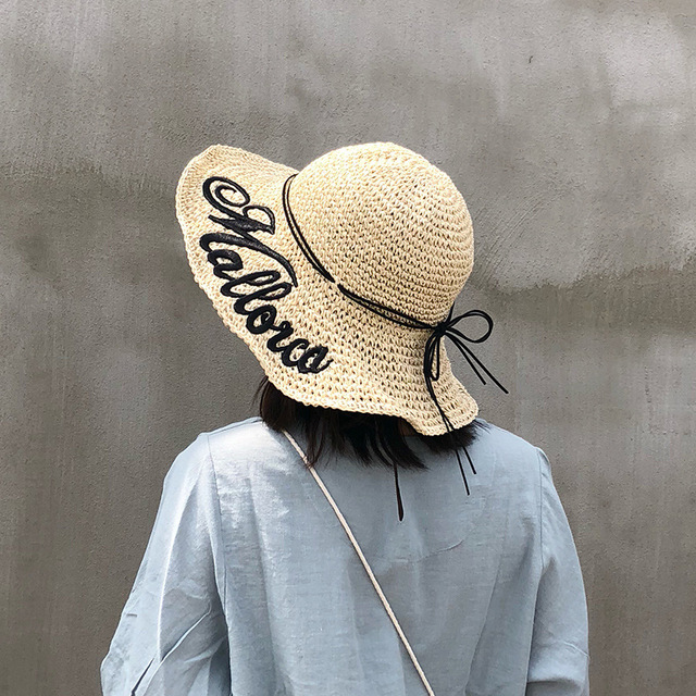 Straw hat girl summer small fresh folding beach hat beach vacation visor hat sun protection hat summer outdoor everything